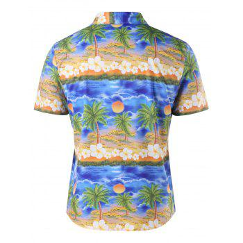 Button Up Tropical Print Shirt - COLORMIX 2XL