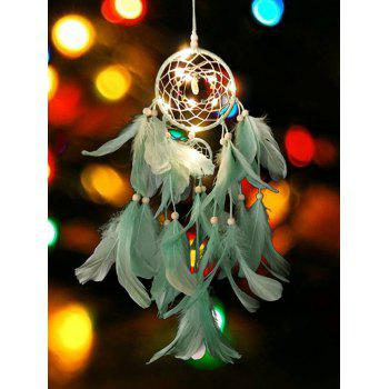 Decorative Hanging Feathers Dream Catcher - MACAW BLUE GREEN