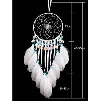 Home Decor Hanging Shells Beads Decorations Feathers Dream Catcher - WHITE