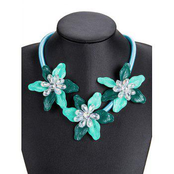 Alloy Flower Pendant Charm Necklace - GREEN