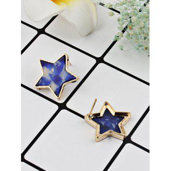 Simple Metal Resin Star Tiny Stud Earrings - multicolor A