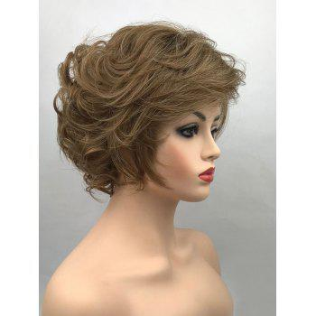 Short Side Bang Fluffy Layered Curly Synthetic Wig - BLONDE