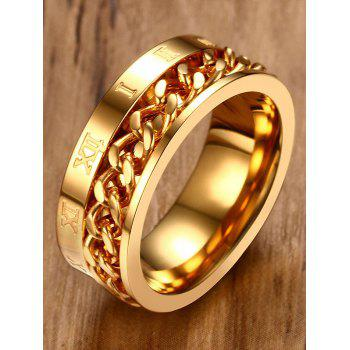 Metal Roman Numerals Chain Round Finger Ring - GOLD