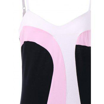 Color Block Open Back Dress - multicolor A XL
