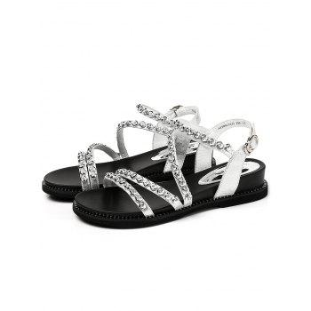 Lanbaoli Chic Crystals Buckled Low Heel Sandals - SILVER 38