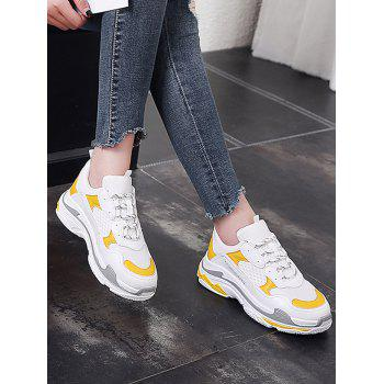 Lanbaoli Breathable Mesh Lace Up Sport Shoes - YELLOW 40