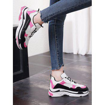 Lanbaoli Breathable Mesh Lace Up Sport Shoes - ROSE RED 35