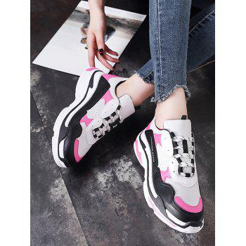 Lanbaoli Breathable Mesh Lace Up Sport Shoes - ROSE RED 39