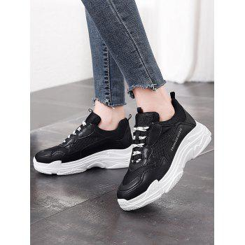 Lanbaoli Breathable Mesh Lace Up Sport Shoes - BLACK 37