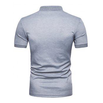 Camouflage Printed Casual Polo T-shirt - LIGHT GRAY 2XL