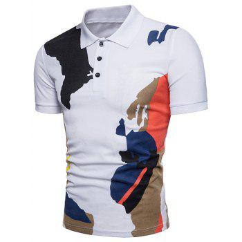 Camouflage Printed Casual Polo T-shirt - WHITE M