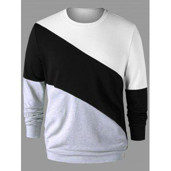 Crew Neck Color Block Sweatshirt - COLORMIX 2XL