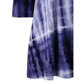 Cutout Shoulder Tie Dye T-shirt - DEEP BLUE 2XL