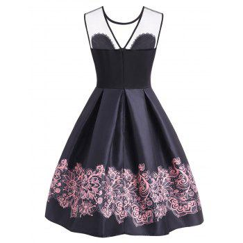 A Line High Waisted Vintage Dress - BLACK XL
