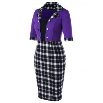 Color Block Notched Collar Plaid Dress - PURPLE 2XL
