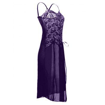 Plus Size See Through Slit Babydoll Dress - PURPLE 3X