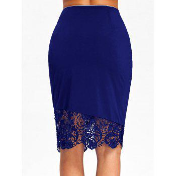 Lace Trim High Waist Sheath Skirt with Button - DENIM DARK BLUE M