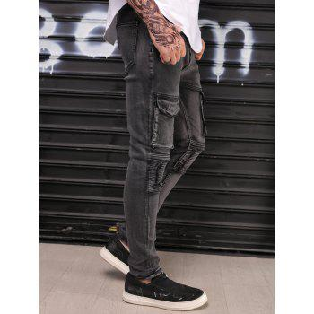 Zipper and Pocket Decorated Stretchy Jeans - CARBON GRAY 34
