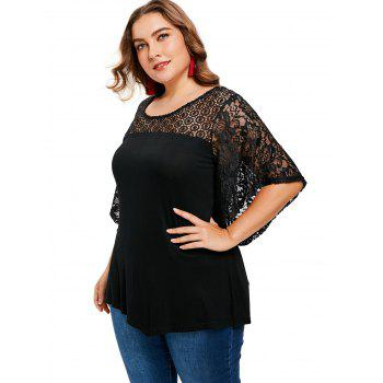 Butterfly Sleeve Plus Size T-shirt - BLACK 1X
