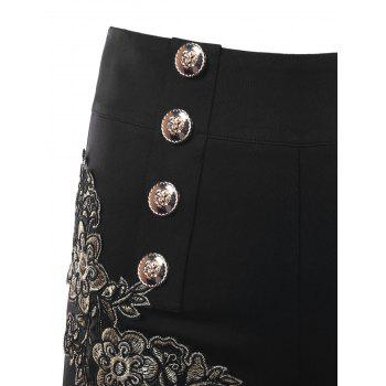 Embroidery Vintage Shorts with Metal Button - BLACK M