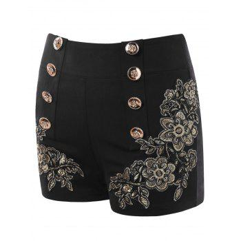 Embroidery Vintage Shorts with Metal Button - BLACK L