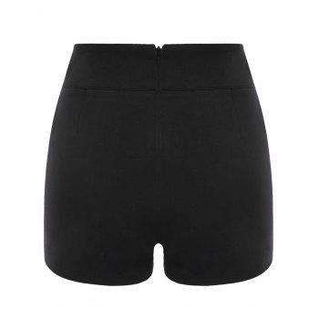 Embroidery Vintage Shorts with Metal Button - BLACK XL
