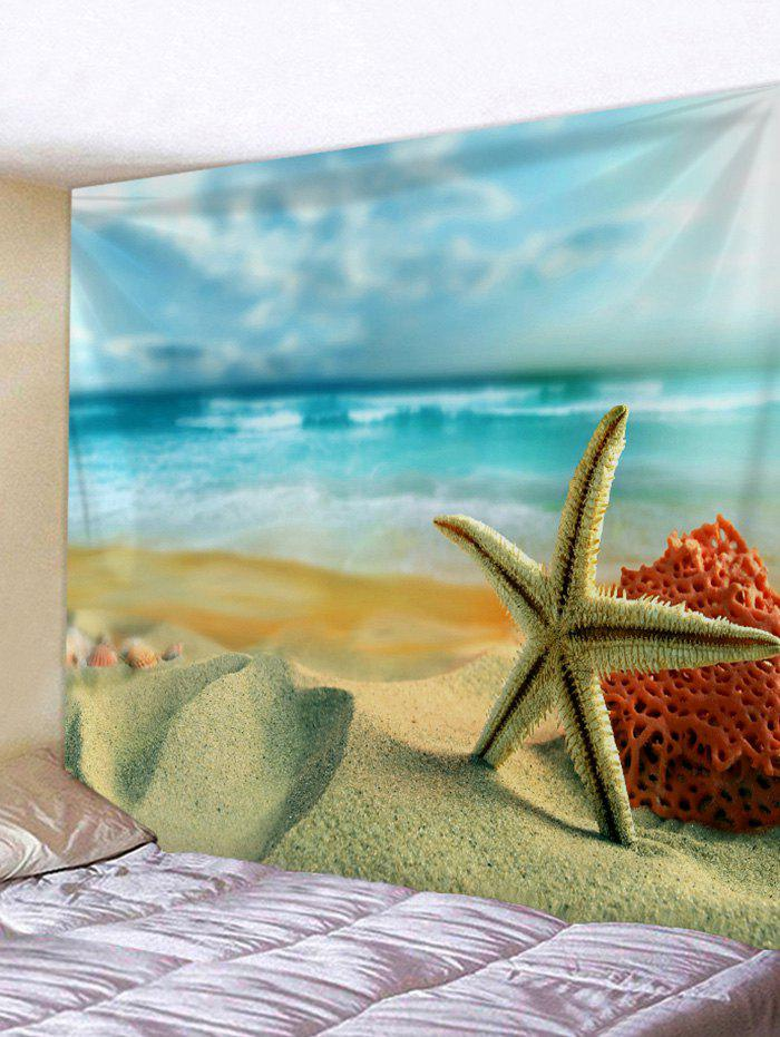 Ocean Beach Starfish Print Wall Tapestry - SUN YELLOW W79 INCH * L71 INCH