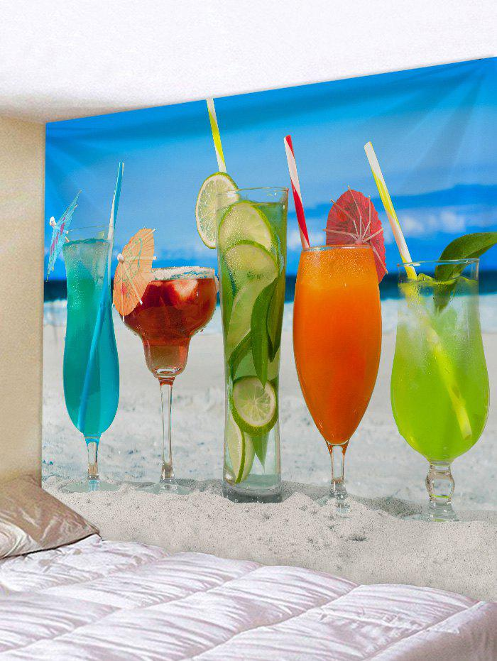 Hawaiian Drinks in Sandy Beach Print Wall Tapestry - multicolor W79 INCH * L59 INCH