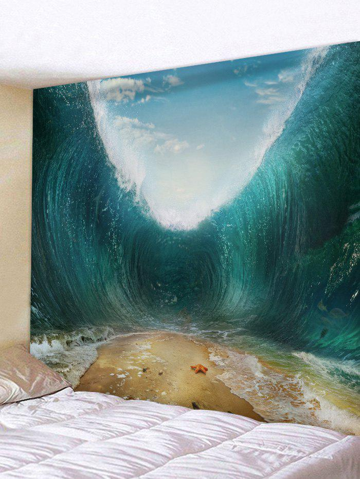 Starfish Sand Sea Wave Print Wall Art Tapestry - GREENISH BLUE W59 INCH * L59 INCH