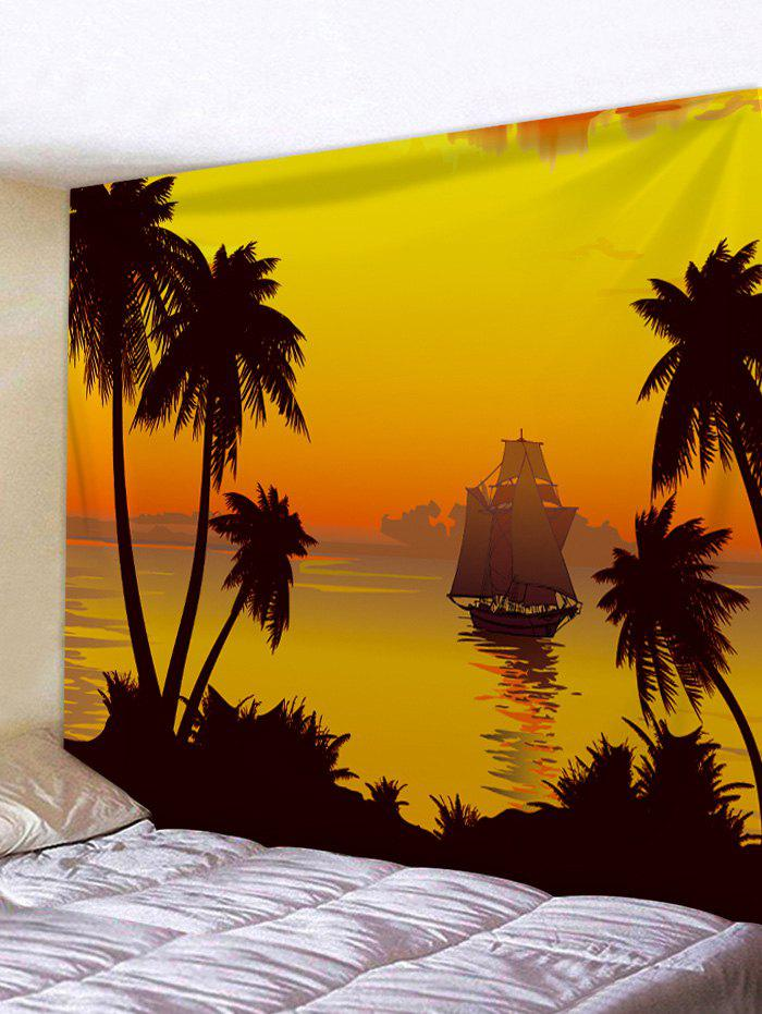 2018 Sunset Coconut Tree Sailboat Print Tapestry Art Hanging Decor ...