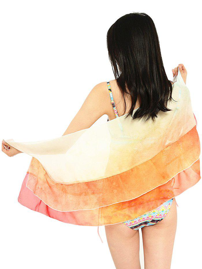 Pineapple Coconut Tree Pattern Summer Shawl Wrap - CANTALOUPE