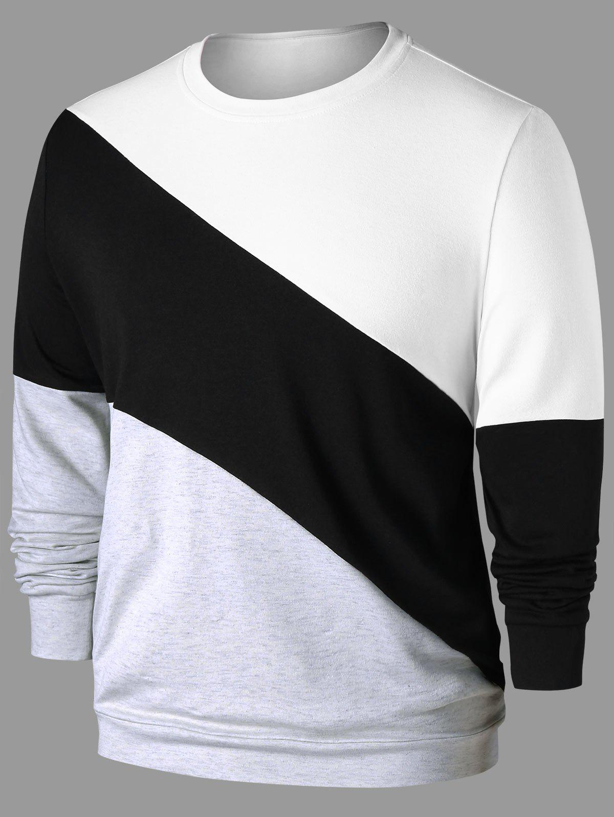Crew Neck Color Block Sweatshirt - COLORMIX M