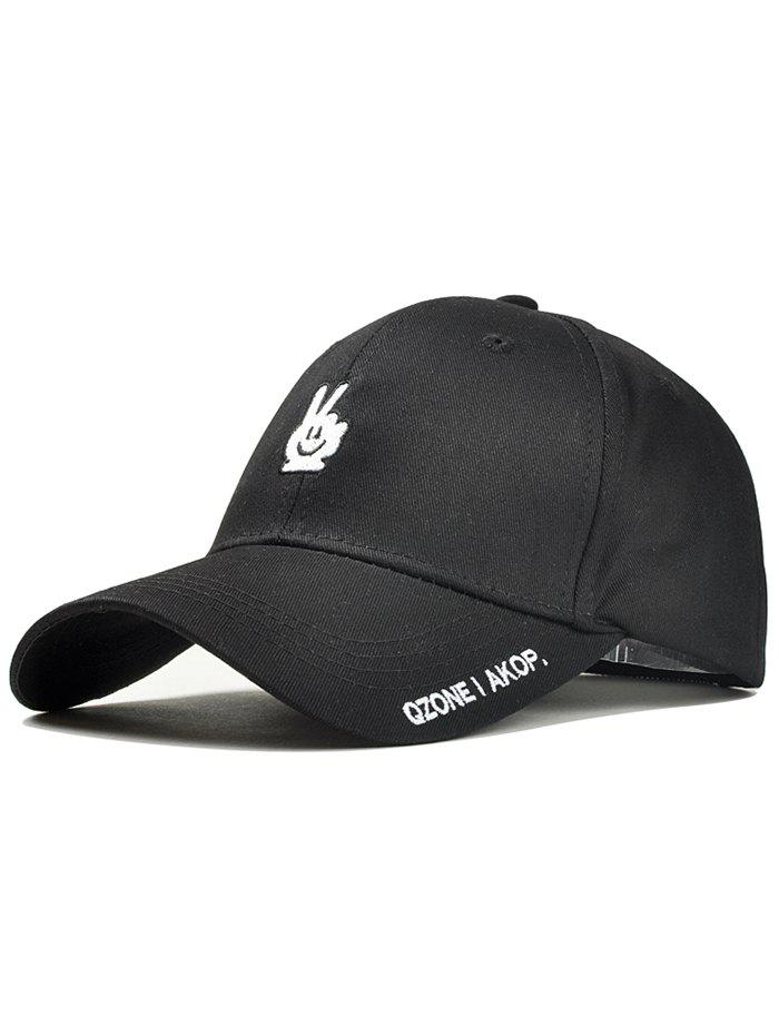 Victory Gesture Embroidery Sunscreen Hat - BLACK