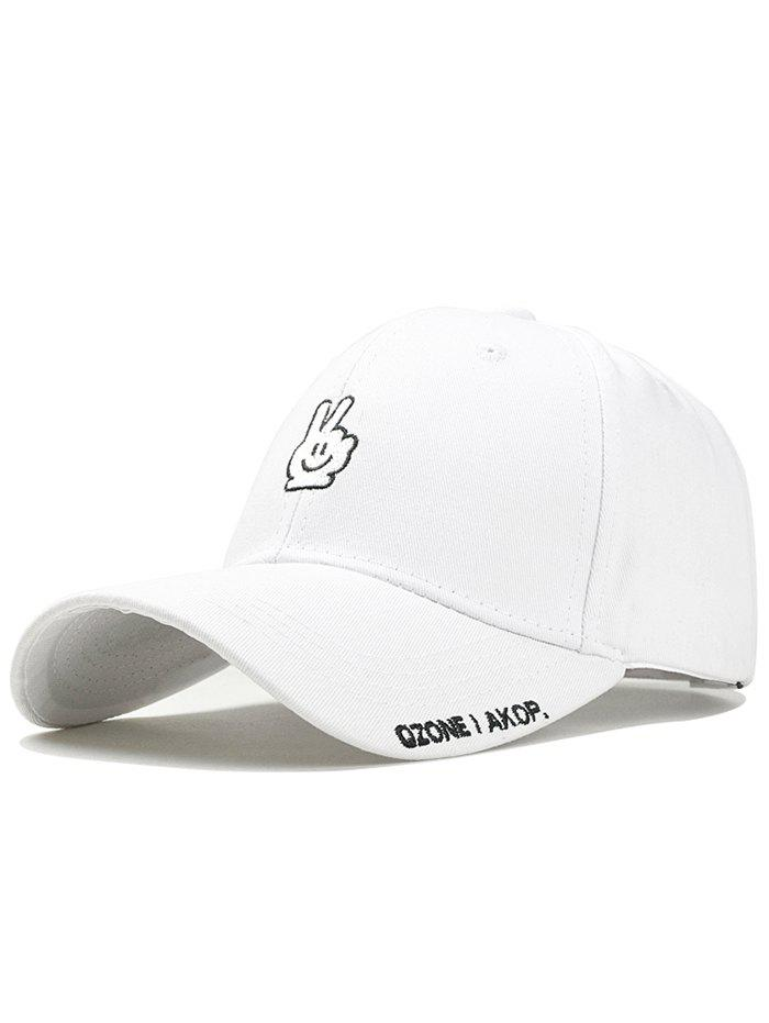 Victory Gesture Embroidery Sunscreen Hat - WHITE