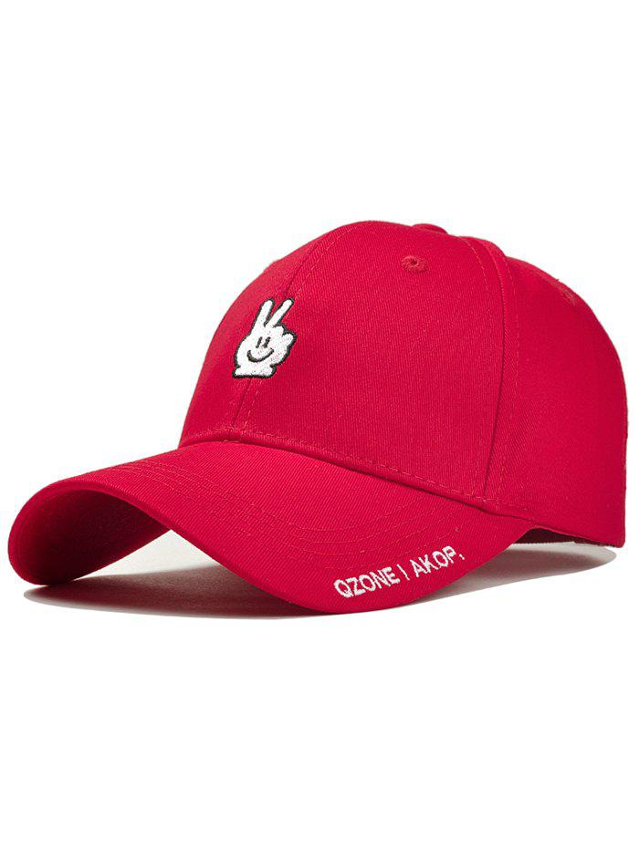 Victory Gesture Embroidery Sunscreen Hat - RED