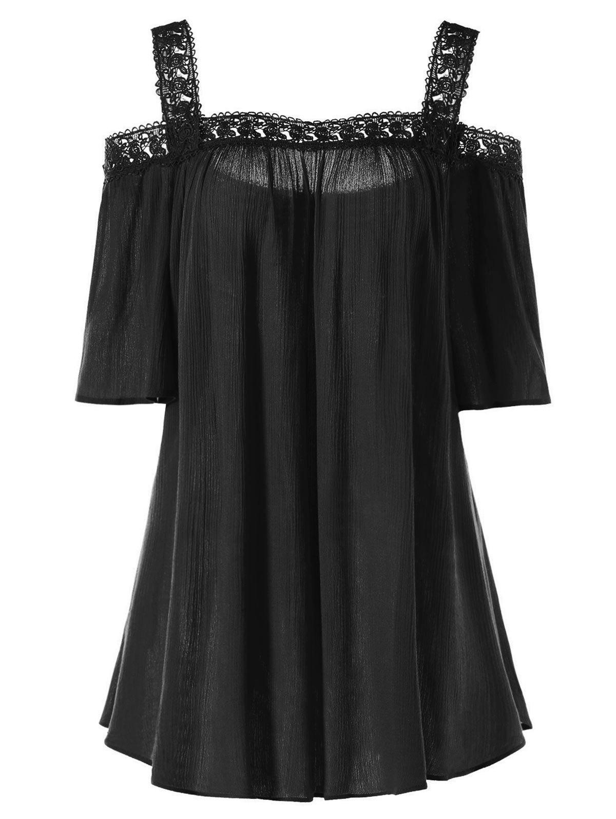 Plus Size Open Shoulder Blouse - BLACK 3XL