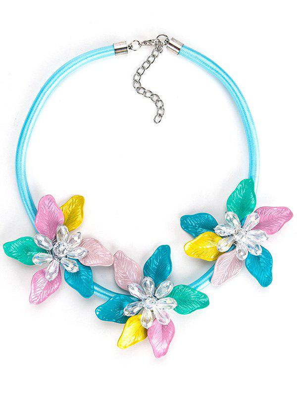 Alloy Flower Pendant Charm Necklace - multicolor
