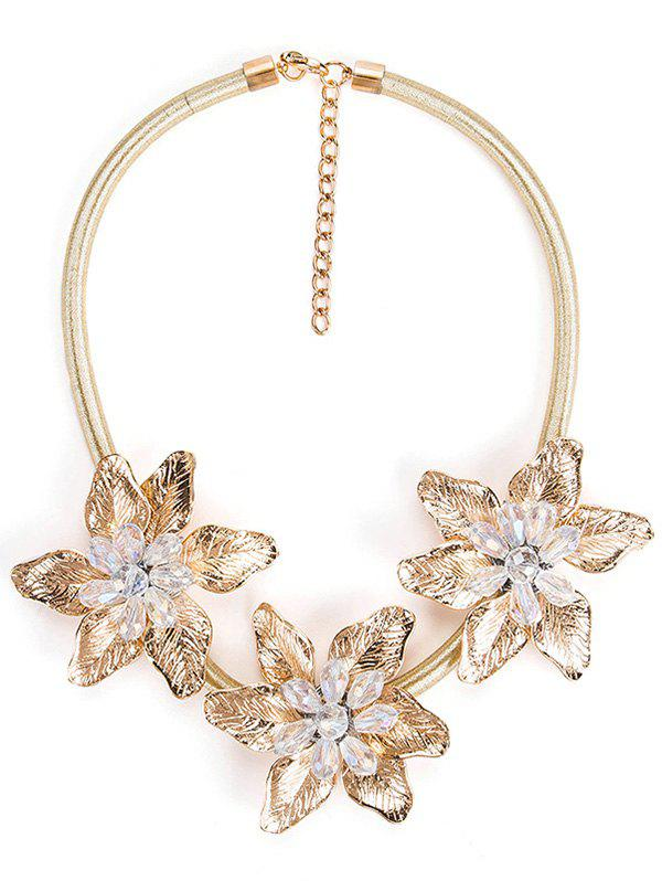 Alloy Flower Pendant Charm Necklace - GOLD
