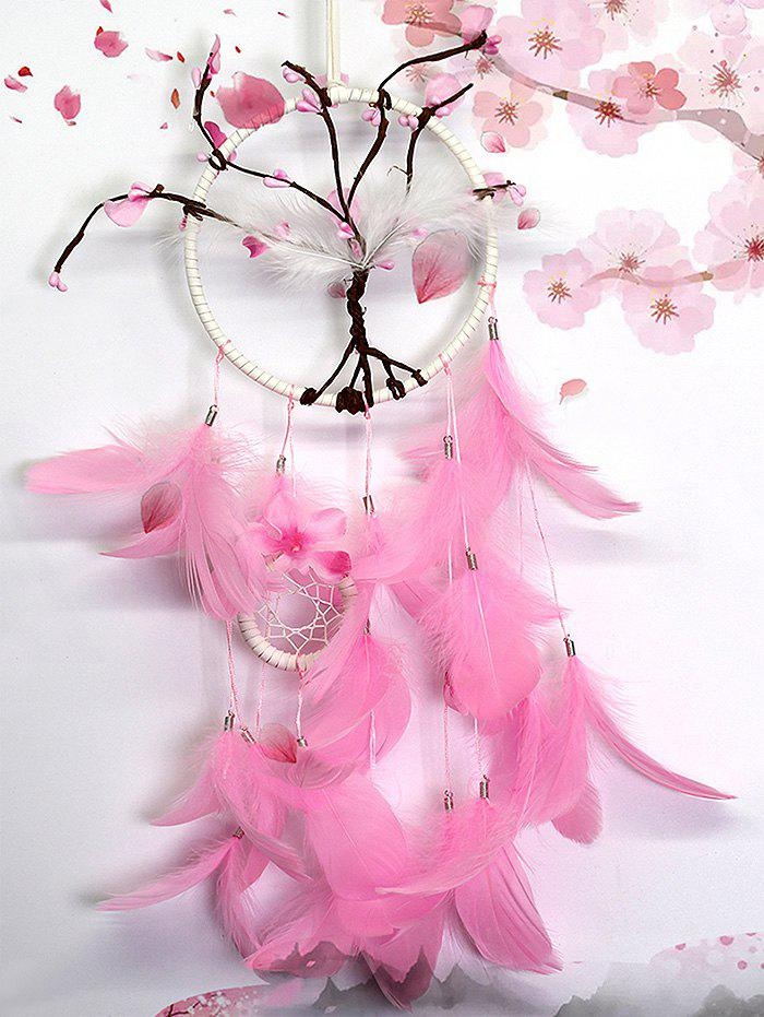 Decorative Wall Hanging Peach Blossom Feathers Dream Catcher - HOT PINK