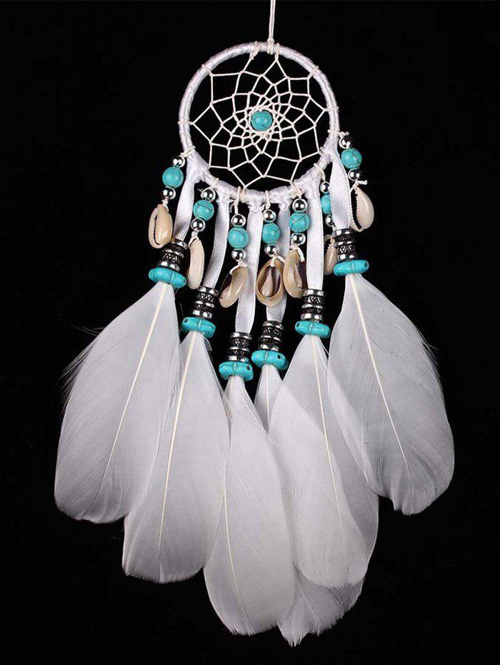 Wall Hanging Beads Shell Decorations Feathers Dream Catcher - WHITE