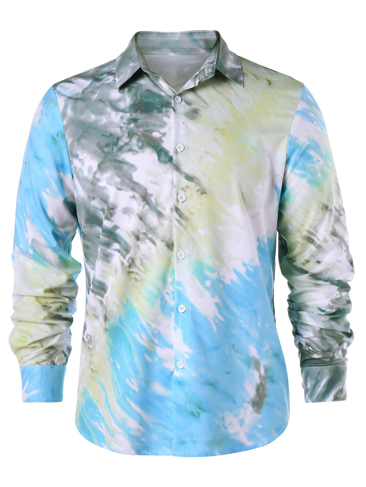 Tie Dye Button Up Shirt - COLORMIX M