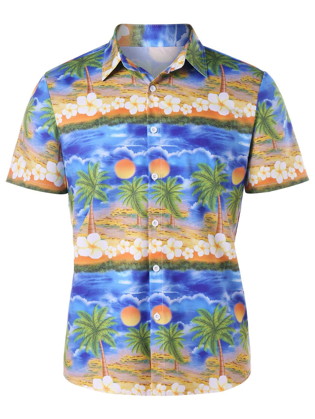 Button Up Tropical Print Shirt - COLORMIX XL