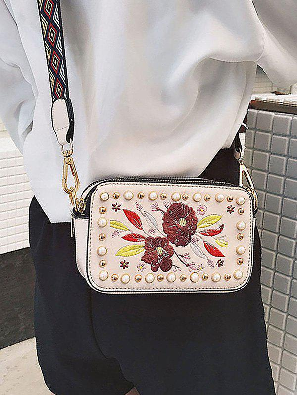 Tribal Print Strap Embroidery Crossbody Bag - LIGHT PINK