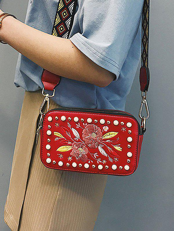 Tribal Print Strap Embroidery Crossbody Bag - CHESTNUT RED