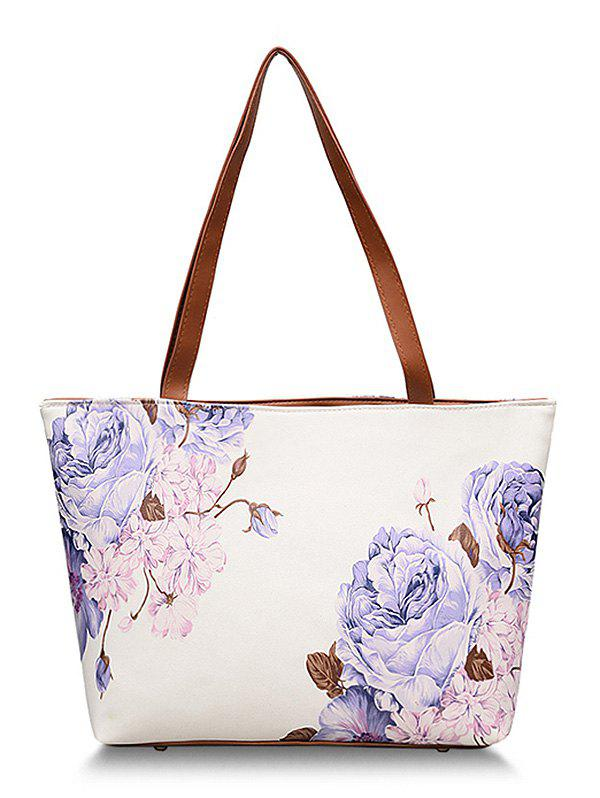 Chic Shopping Flower Decorated Shoulder Bag - VIOLA PURPLE
