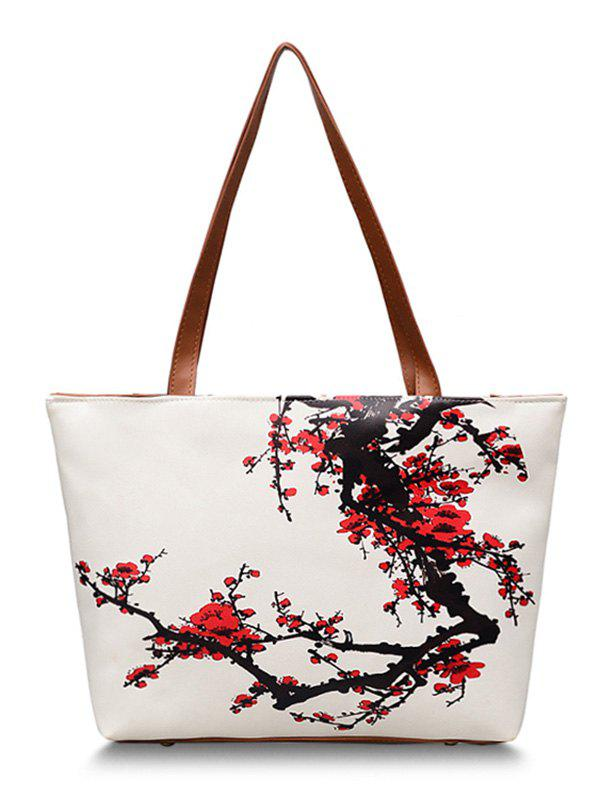 Chic Shopping Flower Decorated Shoulder Bag - CHESTNUT RED