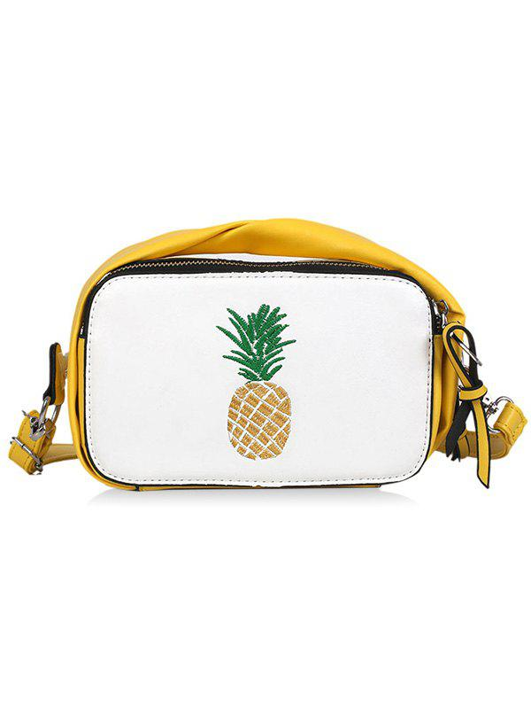 Top Handle Pineapple Contrasting Color Crossbody Bag - BEE YELLOW