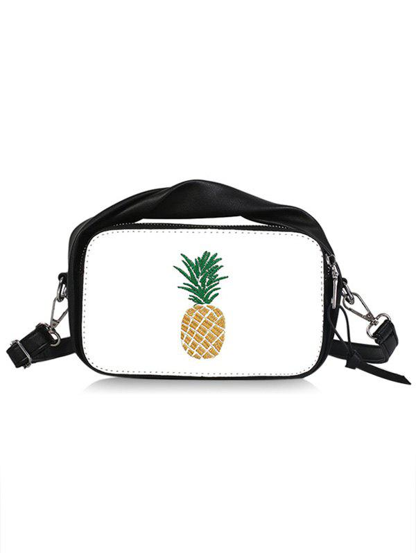 Top Handle Pineapple Contrasting Color Crossbody Bag - BLACK