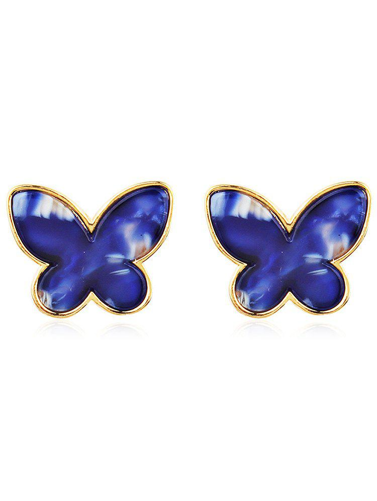Vintage Metal Resin Butterfly Tiny Stud Earrings - multicolor E