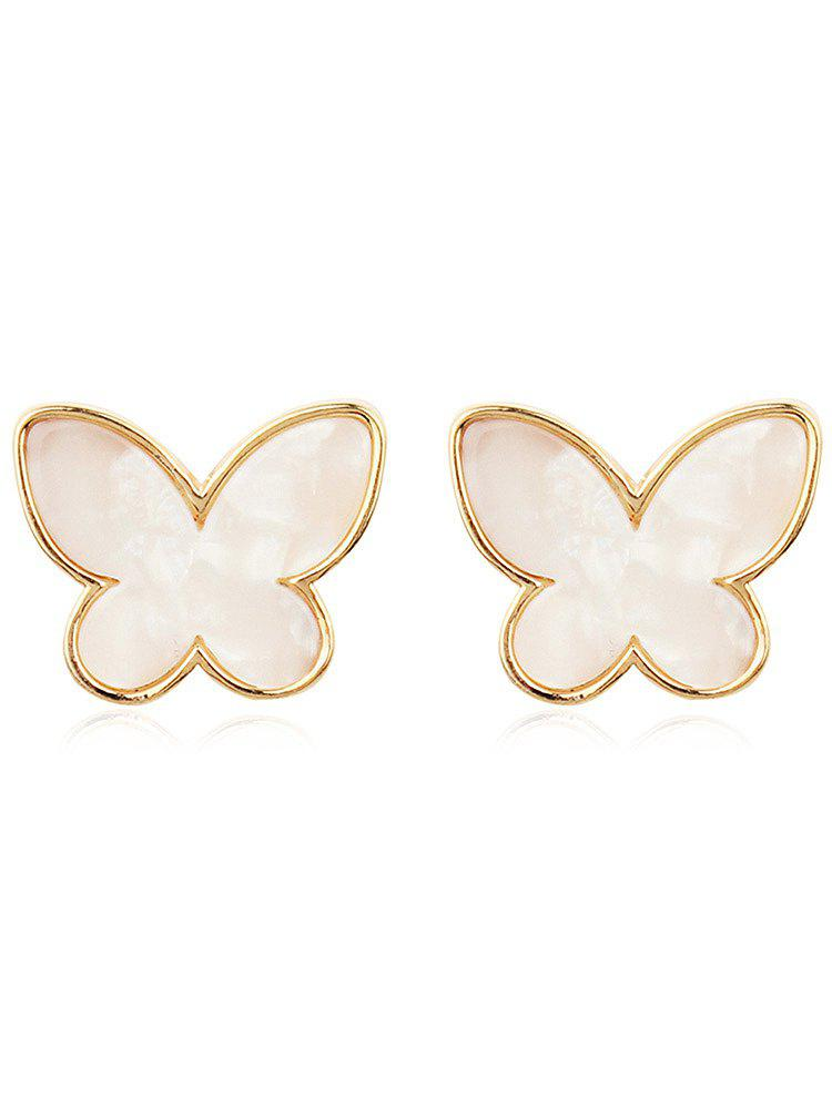 Vintage Metal Resin Butterfly Tiny Stud Earrings - multicolor F